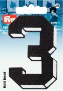Prym Iron On Embroidered Number Motif Applique Small Number 3 - Black