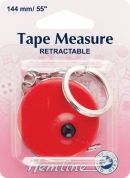 Hemline Retractable Tape Measure with Key Ring 1.4m