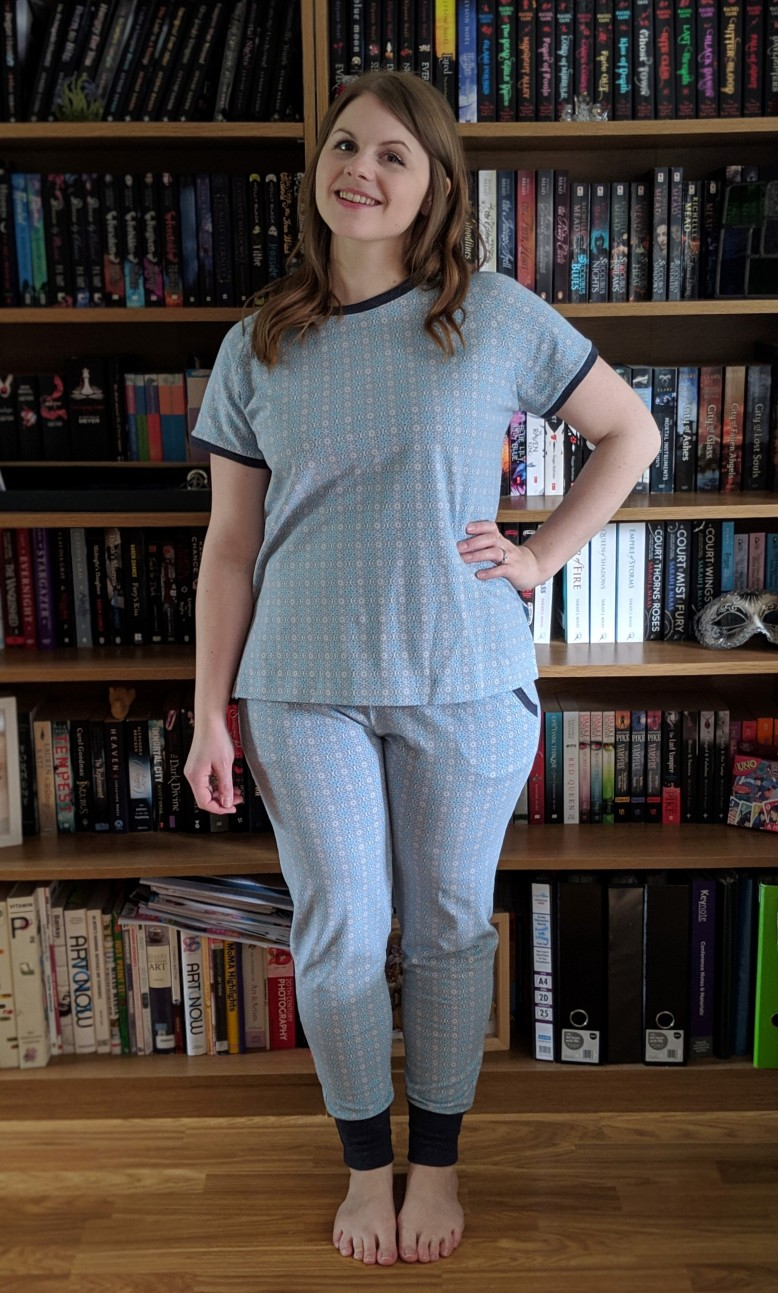 def226758b I chose the blue and taupe colour wave of this soft cotton jersey. The  fabric is also available in rose and taupe. I love the geometric repeating  pattern of ...