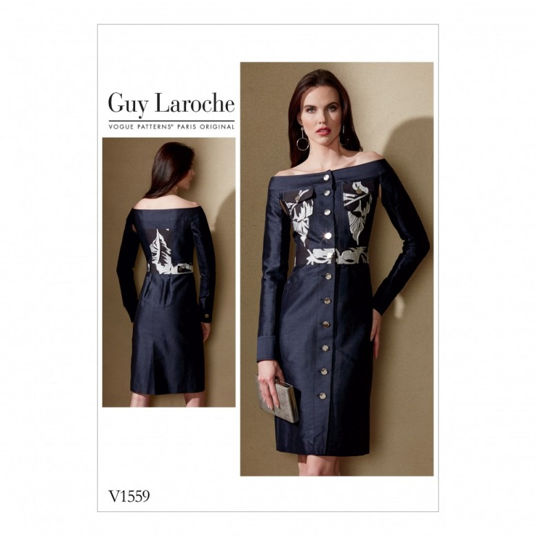 454c235022 I choose V1559 as I liked the classic button through shirt dress style with  its unique designer touches of being off the shoulder and the separation of  the ...