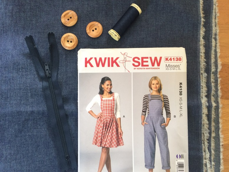 6387e2e69b0877 I made view A of the Kwik Sew pattern in size small (view A is the pinafore  and view B is a jumpsuit). The pattern is printed on a what feels like ...
