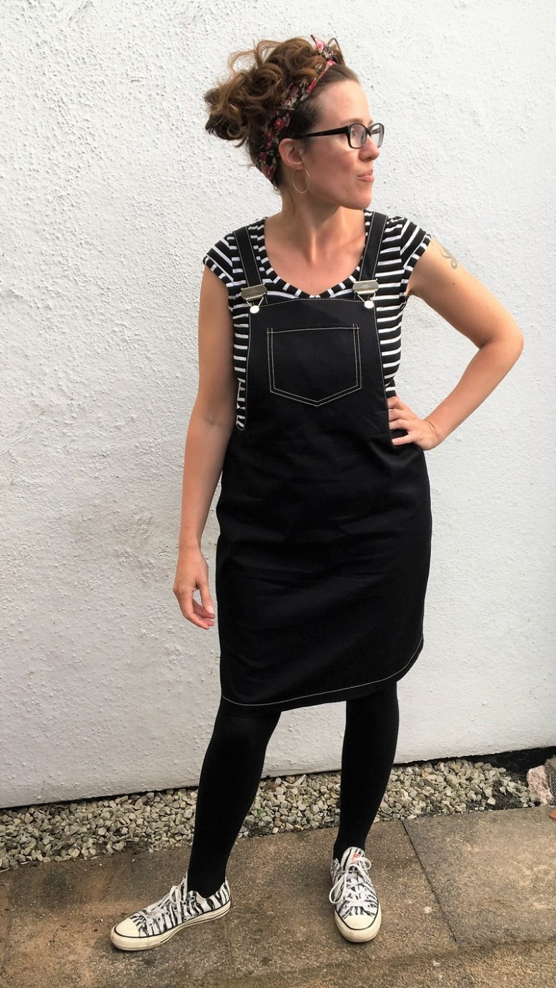 2e04d6c3fcae8d The Cleo Dungaree Dress probably needs no introduction as it's been a  hugely popular pattern, so I'll just say I made the longer version, with  front and ...